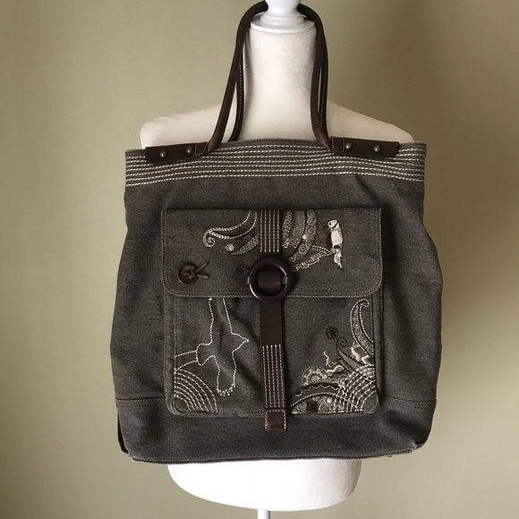 a18db5d2bbae Oilily Large Embroidered Bird Tote Canvas leather.  M 5a82157f2ab8c5258d848f01